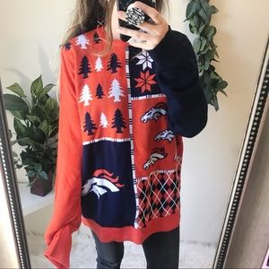 NWT Broncos Busy Block Ugly Christmas Sweater